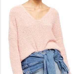 Free People Finders Keepers Pink V-Neck Sweater
